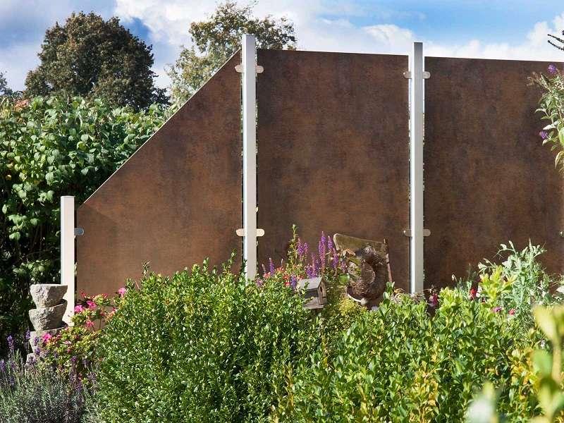 HPL Sichtschutzelement Premo 90 x 180 90 cm Schräg ohne Pfosten