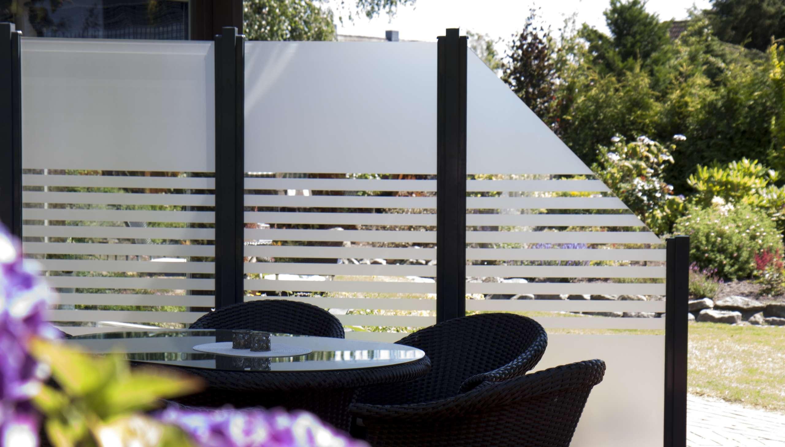 Glas Sichtschutz Ambiente Streifen Matt 90 x 180 cm 8 mm ESG