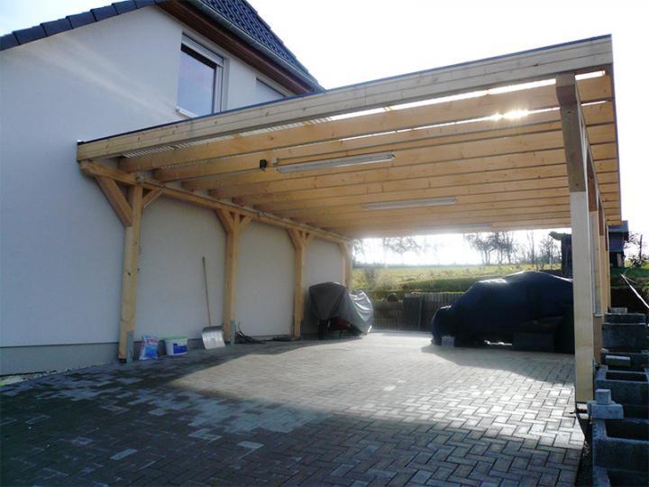 3 00 m x 9 00 m leimholz carport newc 3090 flachdach. Black Bedroom Furniture Sets. Home Design Ideas
