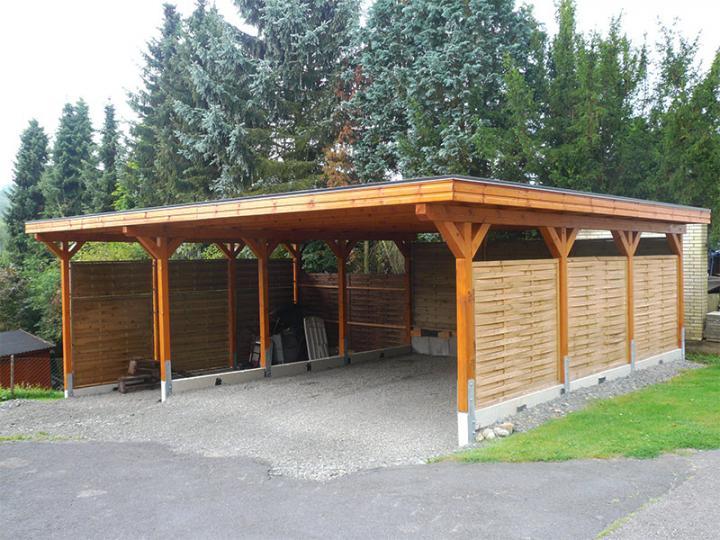 3 00 m x 5 00 m leimholz carport newc 3050 flachdach for Carport bedachung